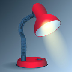 Red desk lamp - vector