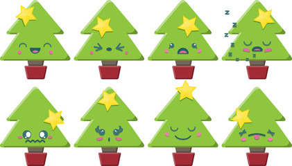 8 cute Kawaii style Christmas Trees with different expressions
