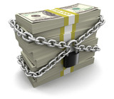 Pile of Dollars and lock (clipping path included)