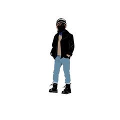 Shopping kids -  boy in jeans  (siluet)