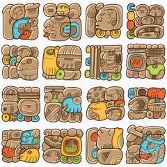Seamless pattern with written symbols of the Maya