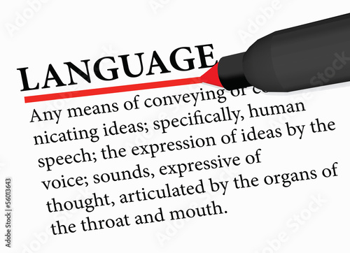 dictionary term of language isolated on white background