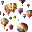 Colorful hot-air balloons floating against white