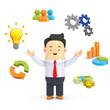 Geschäftsman mit Business-Symbolen - 3D Illustration
