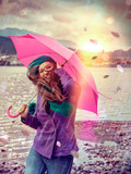 stürmischer Regen / pink umbrella 03