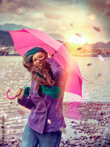 canvas print picture stürmischer Regen / pink umbrella 03