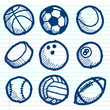 Doodle Sport Ball Icons
