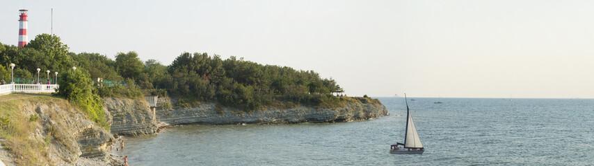 lighthouse on a sea beach