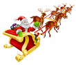 Christmas Santa Claus flying in sleigh