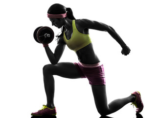 woman body builder weight training  silhouette