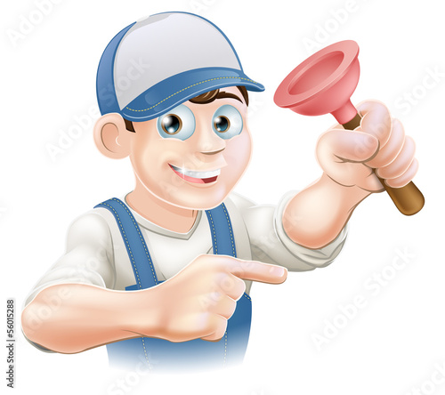Cartoon Janitor or Plumber