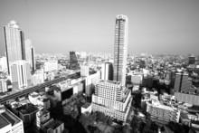 Widok z lotu ptaka z Bangkoku, Tajlandia, zdjęcia czarno-białe