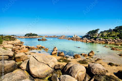 Ploumanach, rocks and bay beach in morning, Brittany, France.