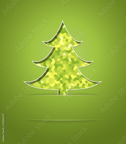 Christmas card with green mosaic tree
