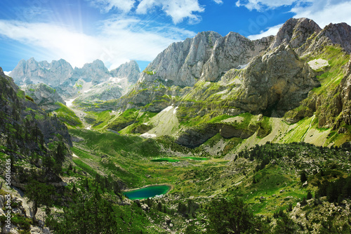 Aluminium Bergen Amazing view of mountain lakes in Albanian Alps