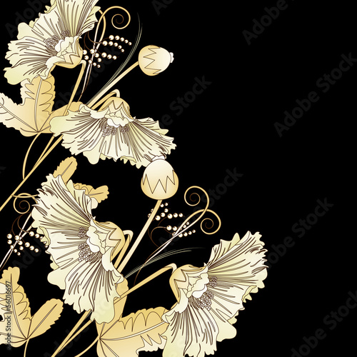 Wild flowers on a black