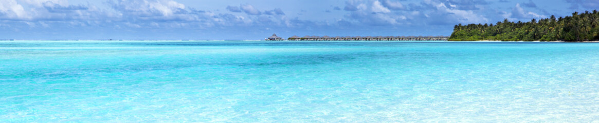 Panorama view of over water bungalow