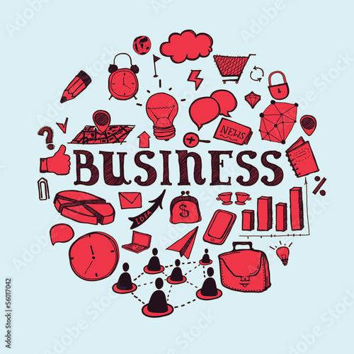 Hand- drawn business and communication icons