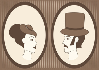 lady and gentleman framed portraits