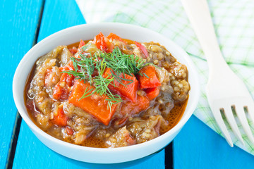 Delicious roasted red pepper and eggplant dish