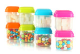Full of plastic containers isolated on white