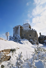 amazing castle in the snow in winter