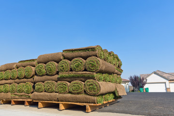 stacks of rolled sod
