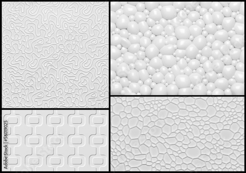 Set of 3d relief wall panel with abstract geometric pattern