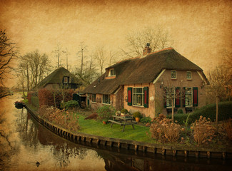 Old  house in Giethoorn, Netherlands.  Added paper texture.