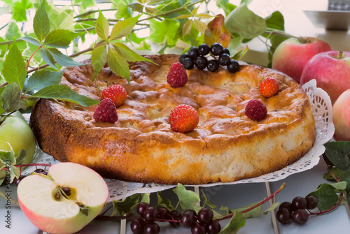 Fresh rustic apple charlotte cake served with different berries