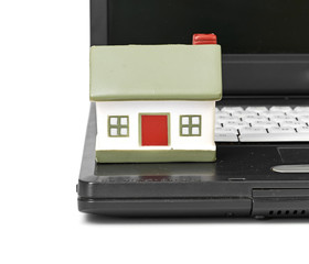 Toy House on laptop