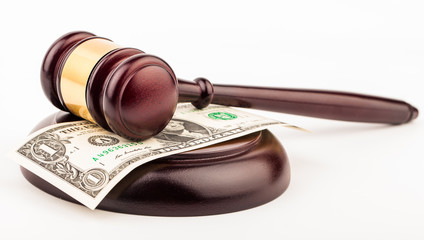 gavel and dollar money isolated
