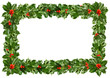 Holly leaves - Christmas frame, background