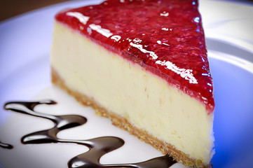 Dramatically lightened slice of raspberry cheesecake