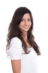 Gesicht schöne lachende Junge Frau mit langen braunen Haaren