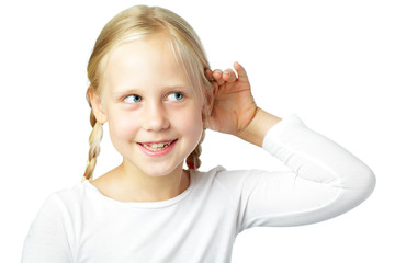 Child cupping ear - little girl listening, communication concept