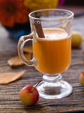 Fresh apple hot drink with cinnamon, selective focus