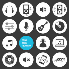 Vector Sound Media and Technology Icons