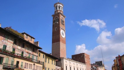 Piazza Erbe and Lamberti Tower, Verona, Italy, Europe