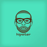 illustration with a male face. hipster