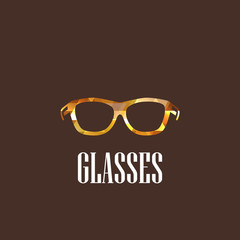illustration with diamond eyeglasses icon