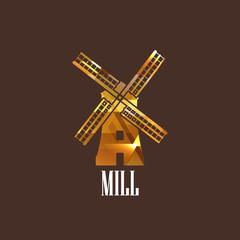illustration with a mill icon