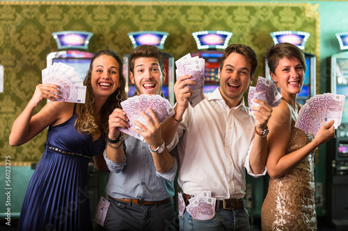Friends Winning a lot of Money at Casino