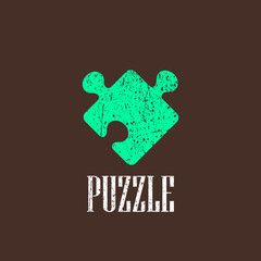 vintage illustration with puzzle icon