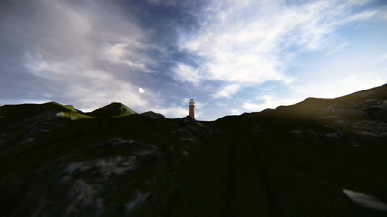 Aerial view of a lighthouse on top of a mountain facing the sea