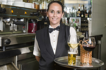 Waitress with tray bar