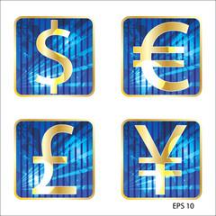 Golden symbols of world currencies