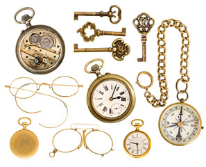 golden collectible accessories. antique keys, clock, glasses, co