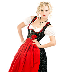 german woman in typical bavarian dress dirndl