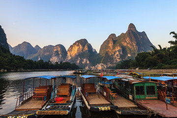 Tourist boats at the Li river , China